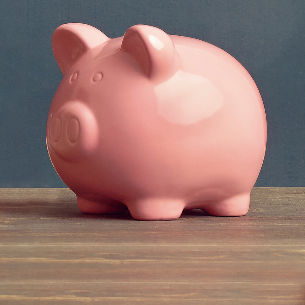 Piggy bank on table