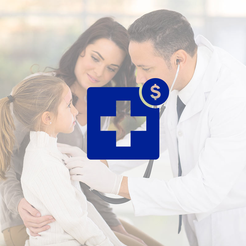 Doctor Inspecting kid with mother and health cross icon